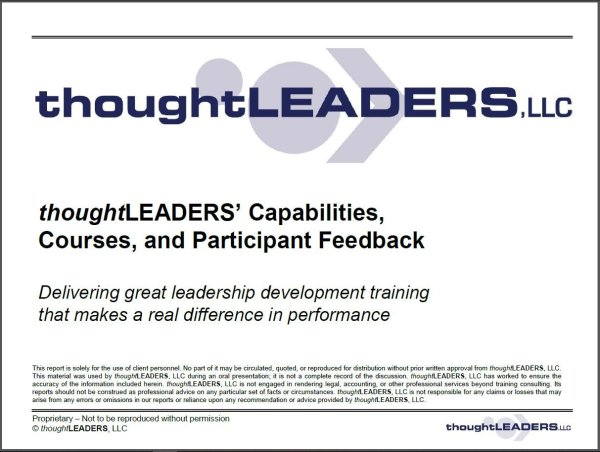 thoughtLEADERS Capabilities, Courses, and Feedback