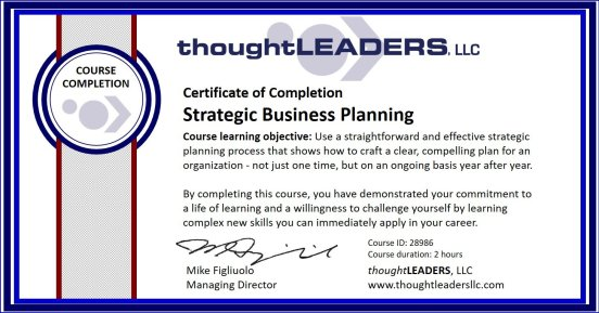 TITAN eLearning Certificate - Strategic Business Planning