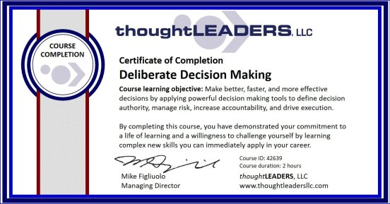 TITAN eLearning Certificate - Deliberate Decision Making