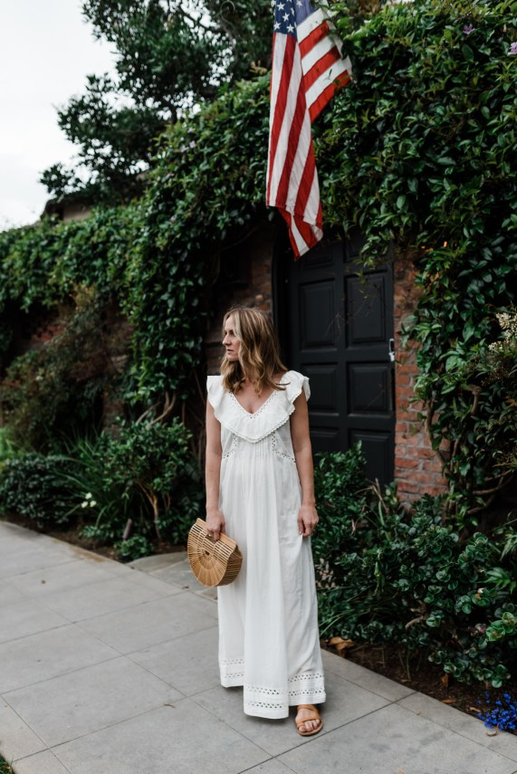 4th of July | Red WHITE and Blue | styling a white maxi dress | thoughtsbybrandi.com