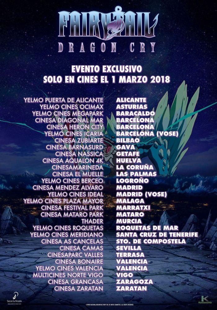 Fairy Tail Dragon Cry Listado de Cines