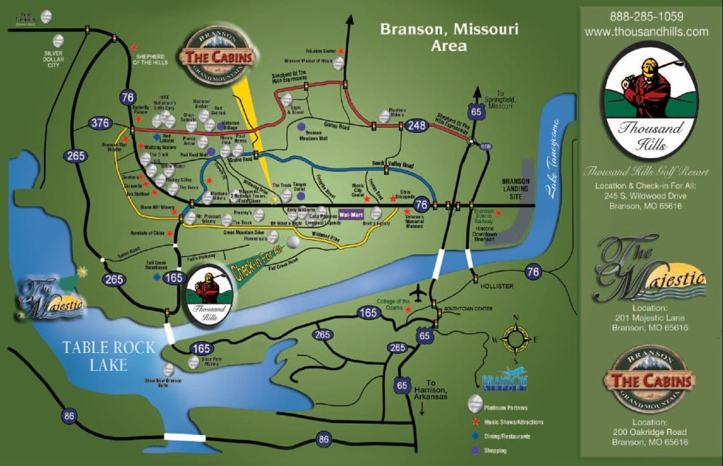 Branson Weather And Branson Maps ThousandHillscom - Branson tourist map