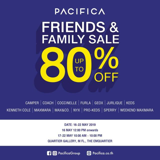 PACIFICA Friends & Family Sale 2019 @ EmQuartier 16 - 22 พฤษภาคม 2562