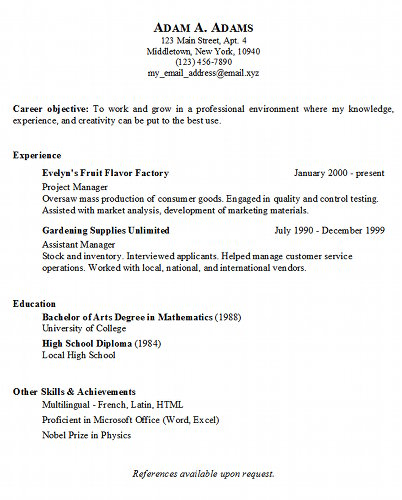 Resume Format Simple Example. Job. Basic Sample Resume Format