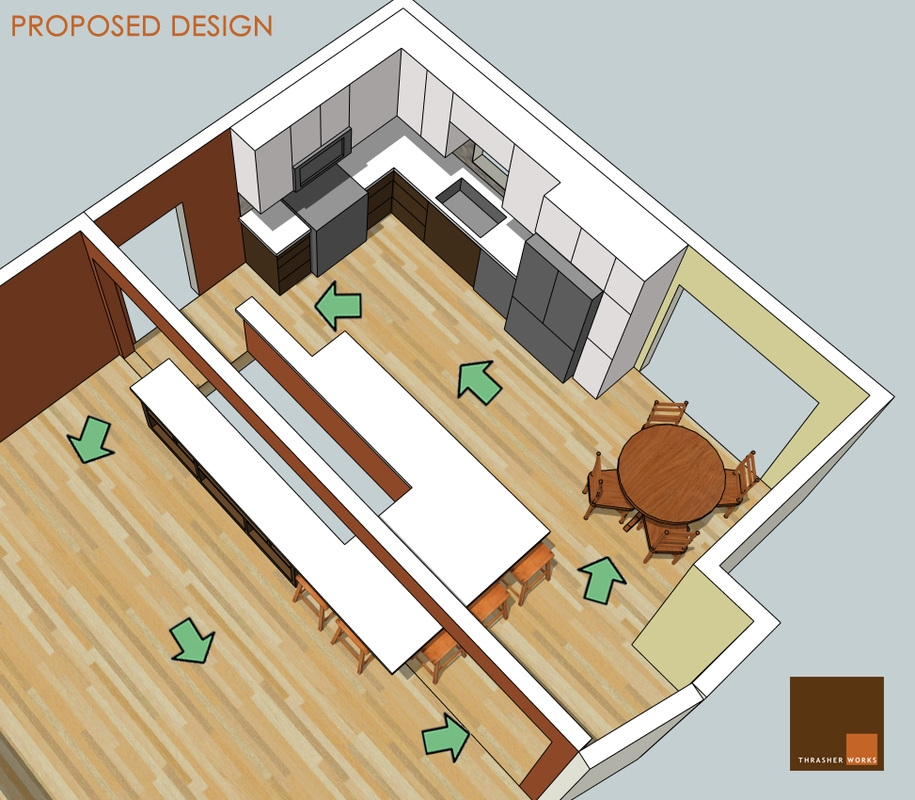 Thrasher Works Blog Thrasher Works   Basement Stairs In Kitchen   Ranch   Both Side   Dining Room   Open Concept   Galley