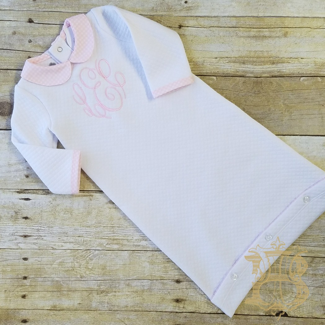 Monogrammed Matelasse Quilted Sleeper Gown by Mud Pie