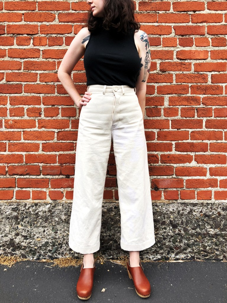 4f916bdd97d I bought this natural bull denim from Stonemountain and it s the perfect  weight for the Persephone Pants. I love the off-white color and the little  darker ...