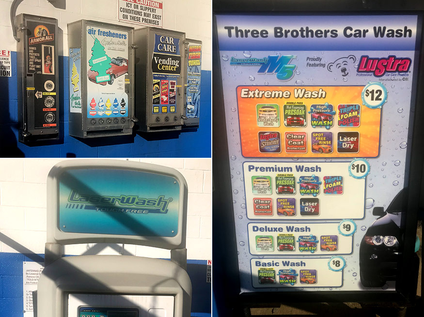 Three Brothers in Baltimore has a touch-free car wash! With every $5 purchase of merchandise in our store you will receive $2 off of our automatic touch-free car wash.