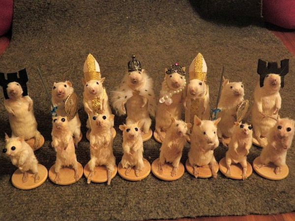 Mouse Taxidermy Chess Set