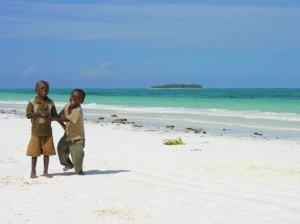 Boys playing on Matemwe Beach, Zanzibar