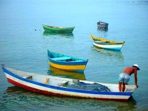 Fishing boats at Praia da Armacao, Buzios