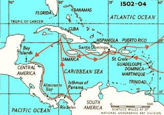 map of Columbus voyage through Caribbean