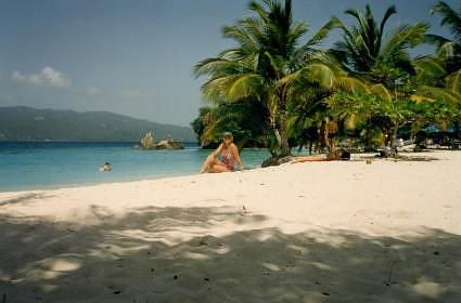 Beach Cayo Levantado Peninsula Samana Dominican Republica Caribbean (myself)