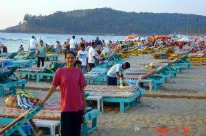 Chairs on Baga Beach, Goa, India