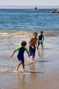 Playing on Santa Cruz beach, California