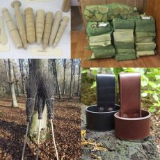 an image showing a range of our products including: dinners, log sacks, besom brooms and leather axe loops