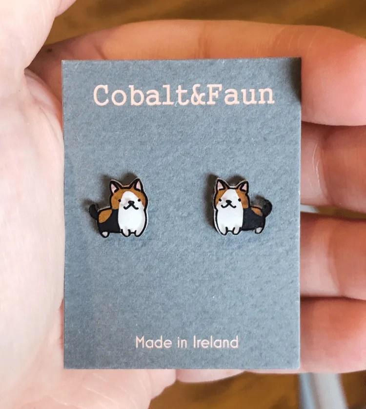COBALT & FAUN CORGI EARRINGS