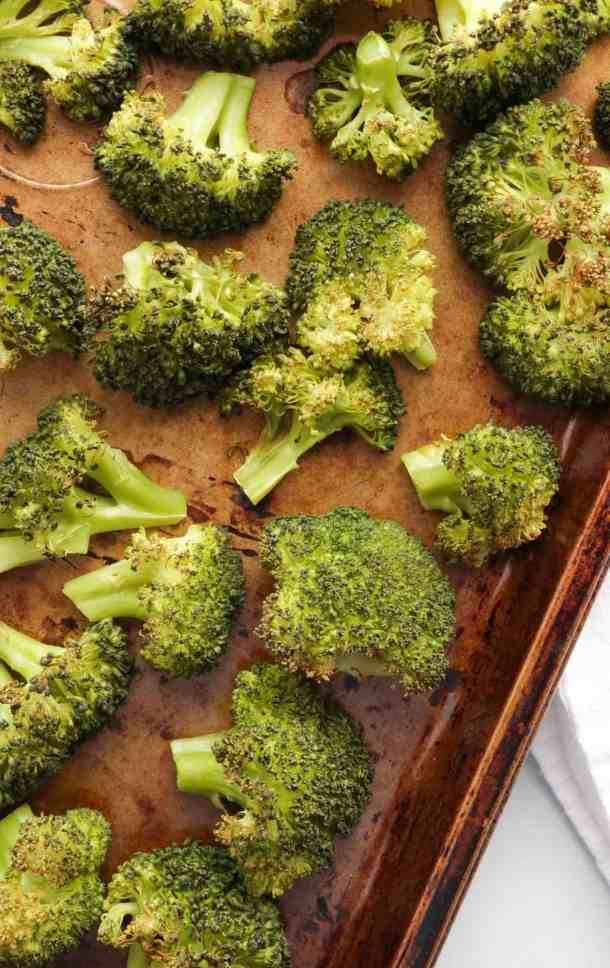 Roasted broccoli for cheesy broccoli and potatoes.