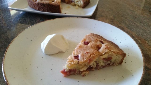 strawberry rhubarb coconut cake