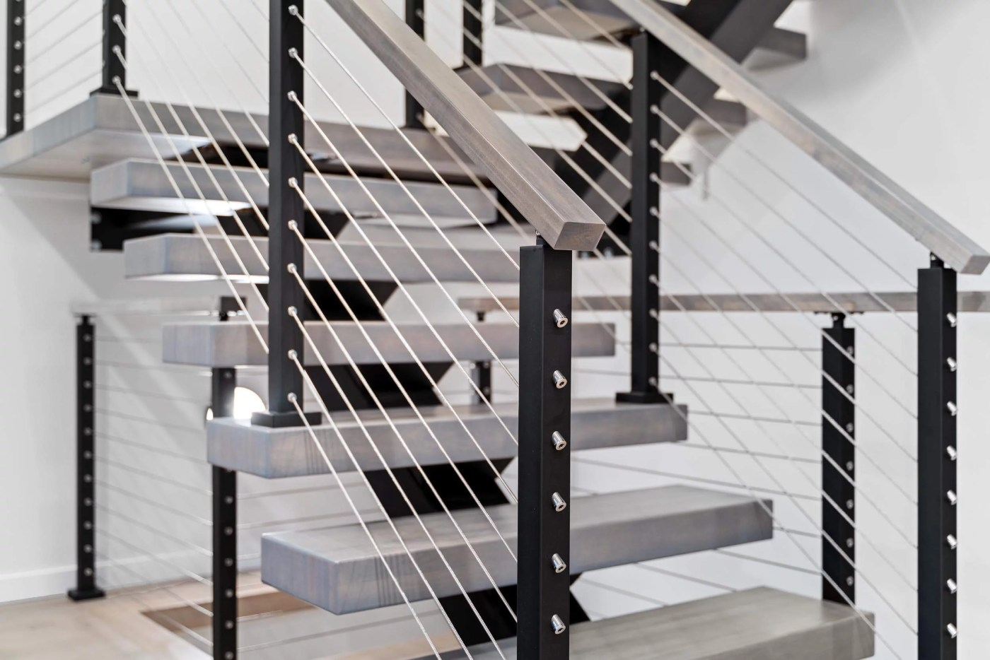 Photo of the modern stairs in a new construction building