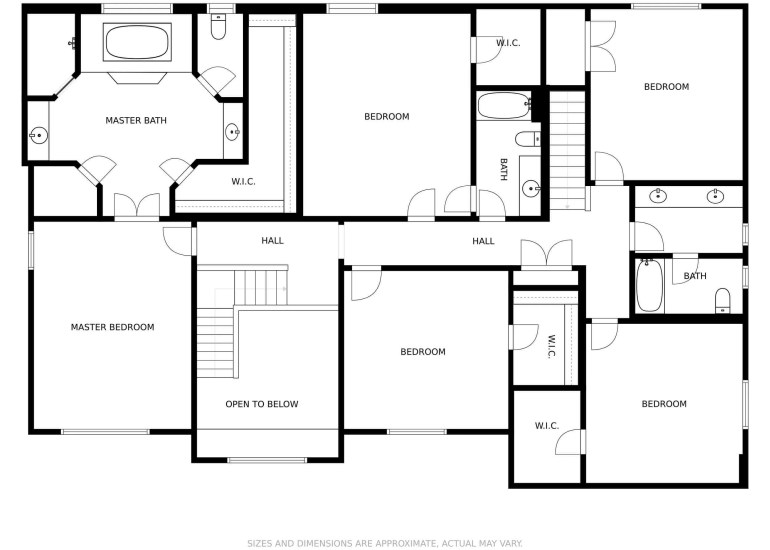 Example of a real estate floor plan of the second floor of a house for sale in Chicago