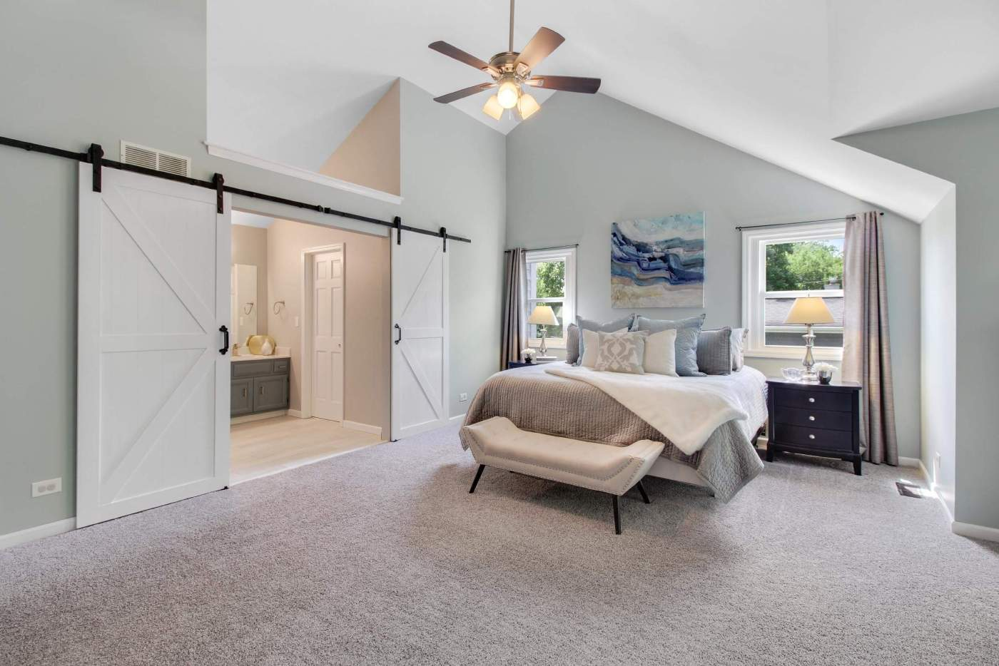 Master bedroom (primary bedroom) image, captured by a professional real estate photographer.