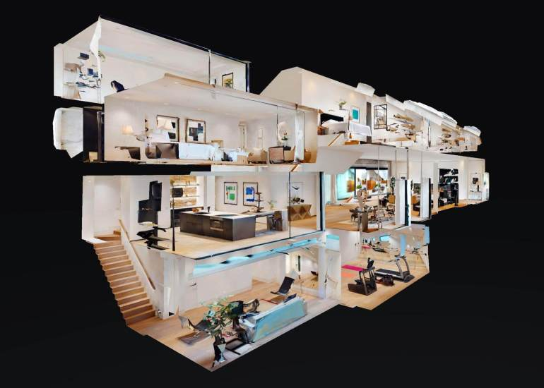 3D Model of a house for sale, Matterport 3D digital twin known as a dollhouse