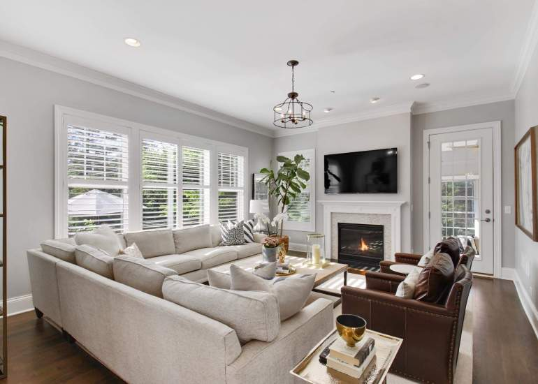 Image of the beautiful family room with a fireplace
