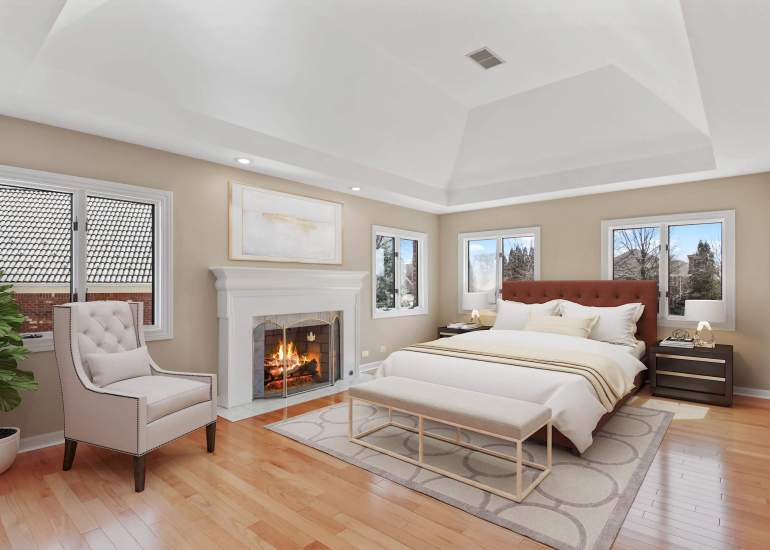 Virtual staging services for real estate photography - digital furniture in a master bedroom