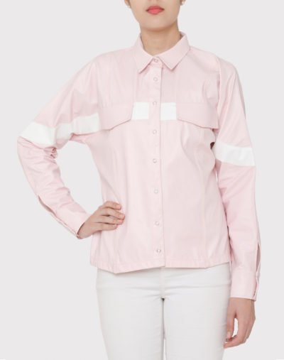 Pink Art Leather Kimono Over Shirt