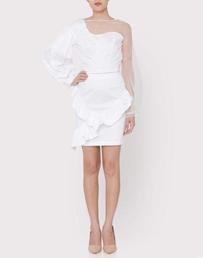 White silk organza panel top styled with white cotton satin ruffle skirt