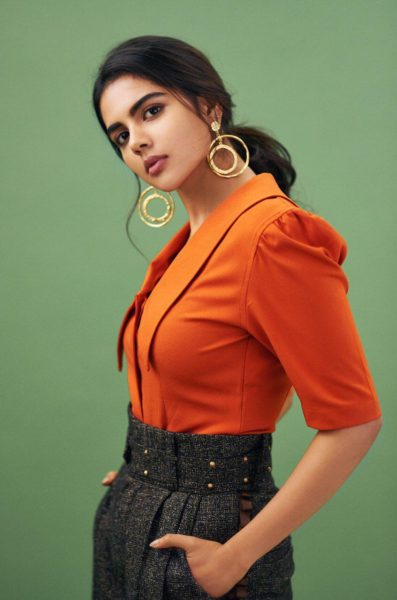 Kalyani Priyadarshan in Three Piece Company Edgy Collar Shirt and Flare Pants