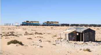 SNIM iron ore train on the way to Zouerat, one of the longest in the world (Mauritania)
