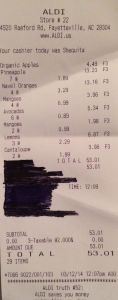 Juice Cleanse Grocery Store Receipt