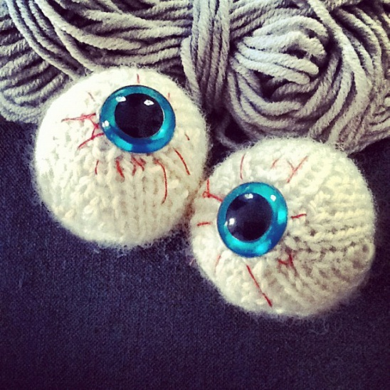 ...I've got my eyes on you. Or on my needles. Actually, ow. Let's not mention that again.