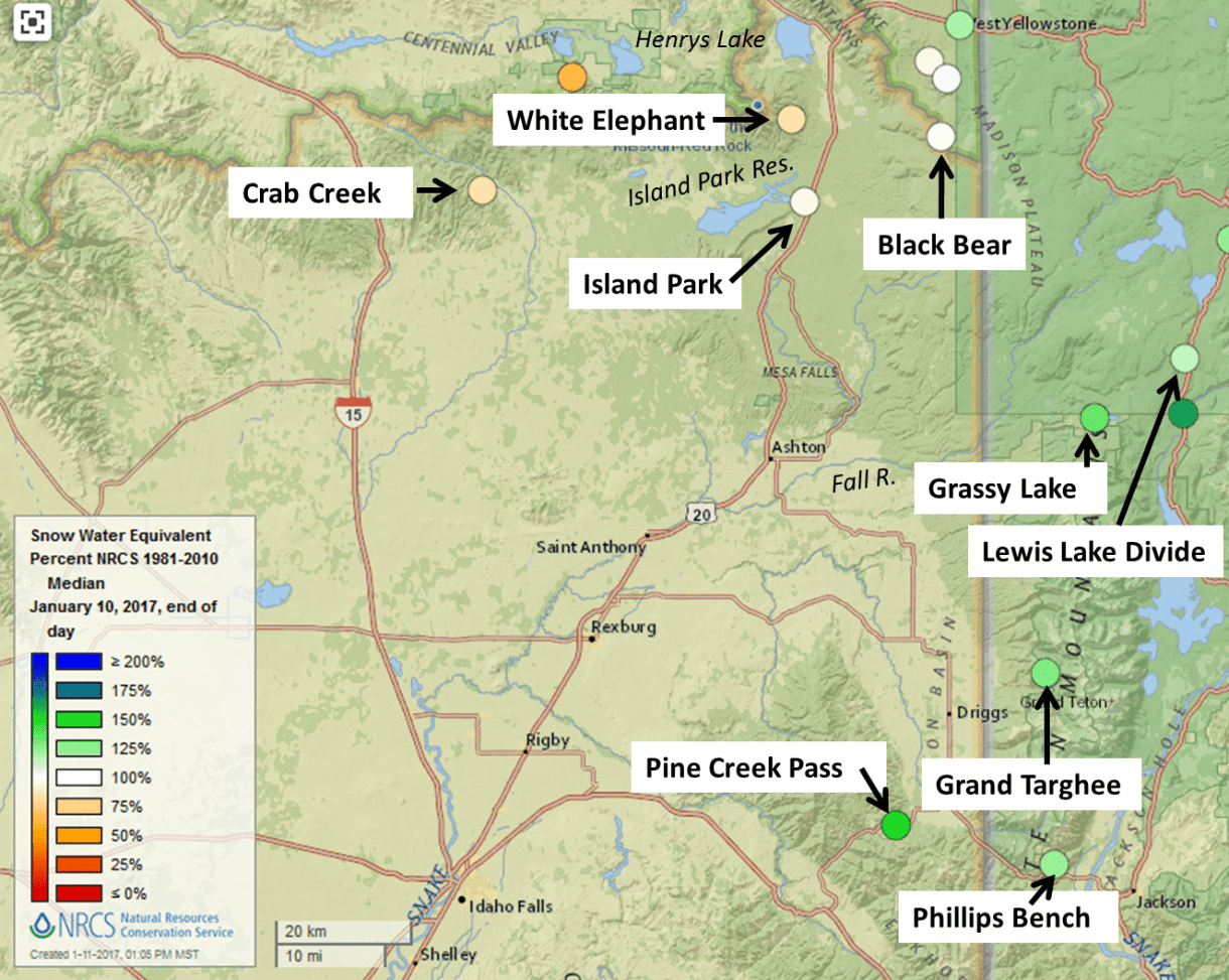 Map showing snow-survey site in the Henry's Fork watershed.
