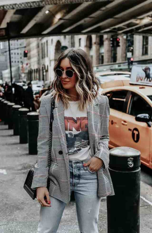 Thrifting Fall Fashion | Fall 2019 Fashion Trends | Plaid is always in for fall. Try pairing a plaid blazer with a cool graphic tee like a band tee and some jeans for the perfect fall casual outfit.
