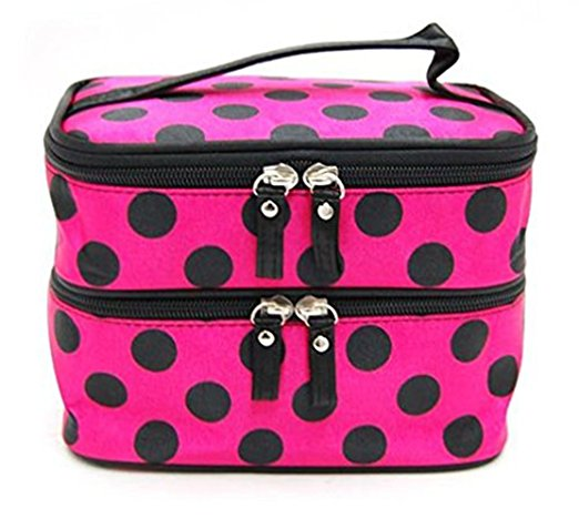 Double Layer Cosmetic Bag - Rose Red with Black Dot