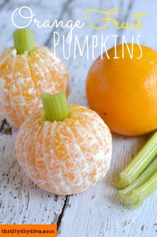 Orange Fruit Pumpkins a Healthy Halloween Treat