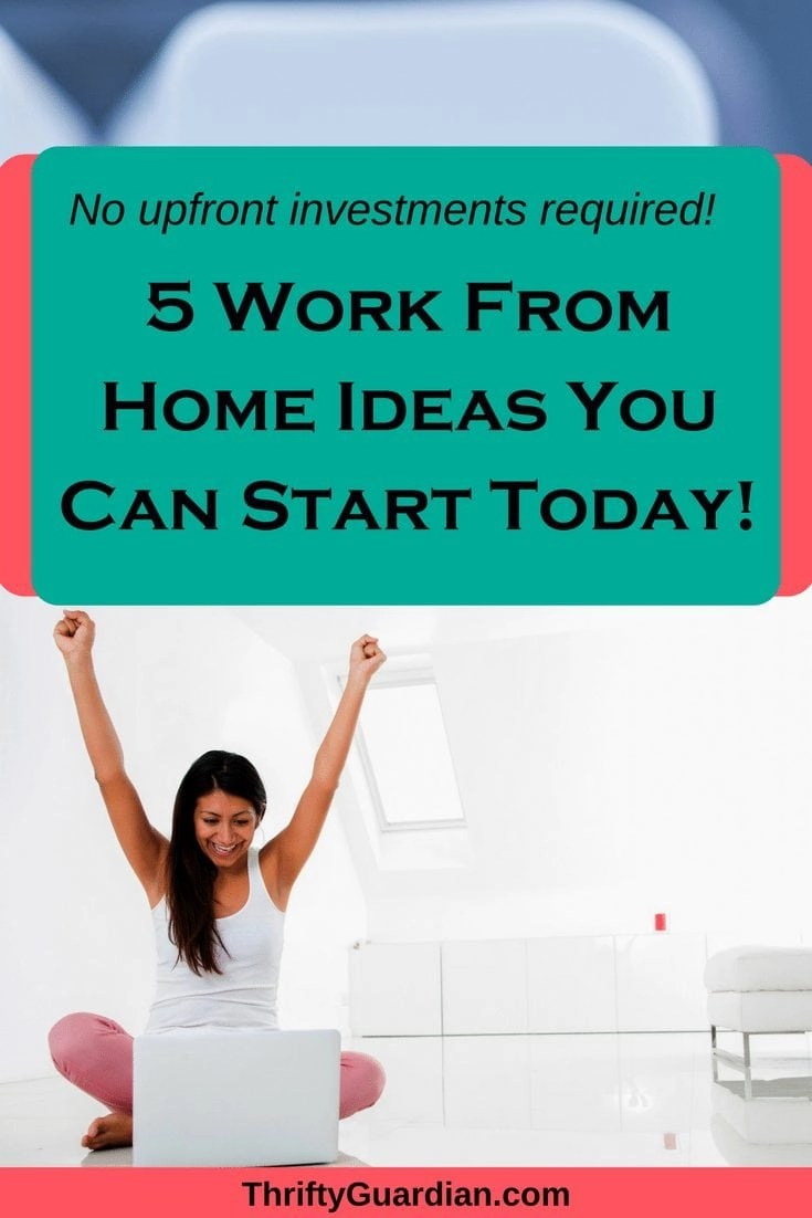 Get started working from home today with these five great tips that require no upfront investment! Work online and make money in your pajamas! #workfromhome #workonline #makemoney #sidehustle