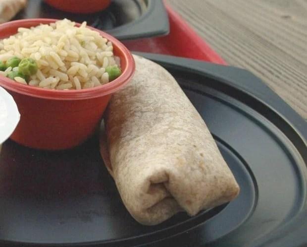 Beef and Potato Burrito with Sweet Potato Fries