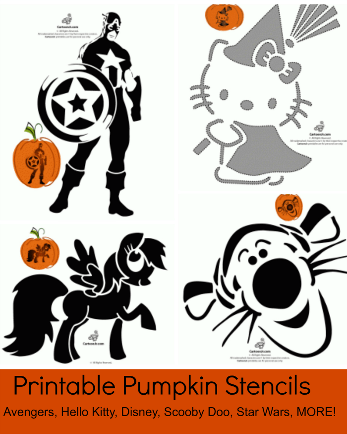 photograph relating to Scooby Doo Printable named Totally free Printable Pumpkin Stencils: Avengers, Good day Kitty