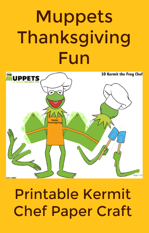 Free Printable Thanksgiving Kermit Chef Paper Craft from The Muppets