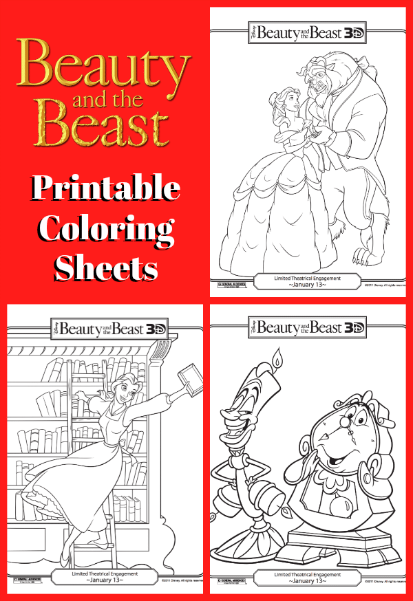 FREE Beauty And The Beast Coloring Sheets - Thrifty Jinxy