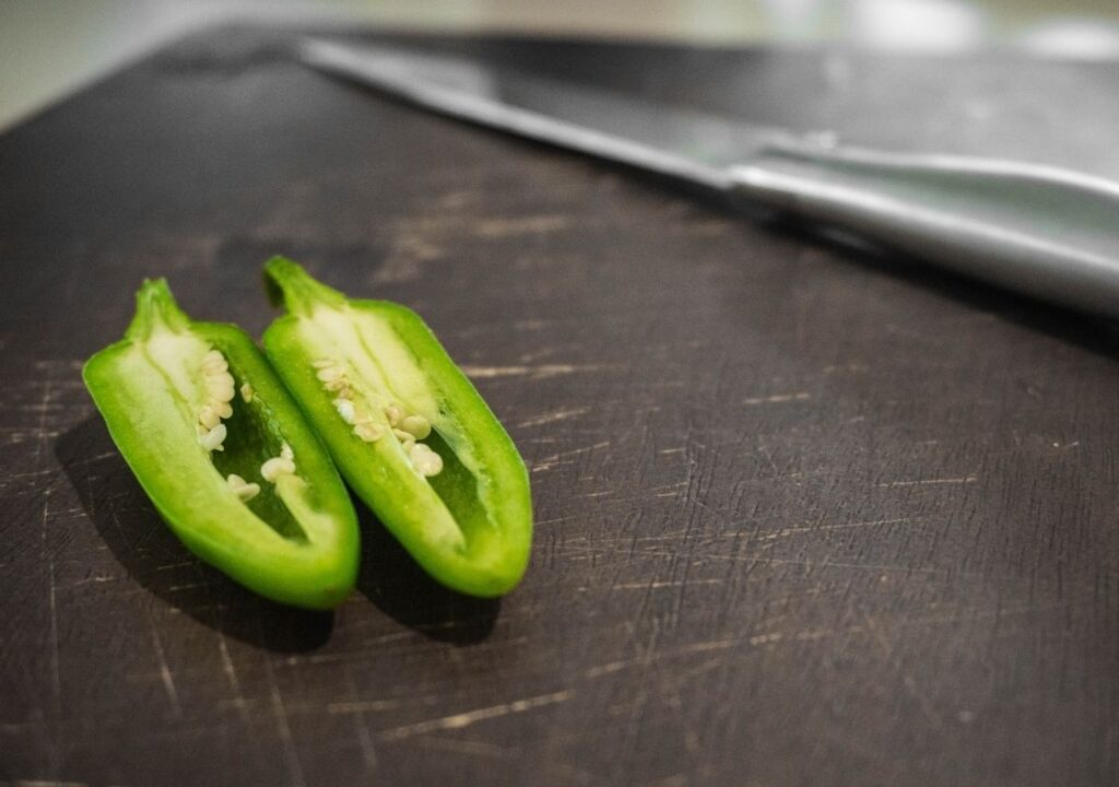 Jalapeno Halved with Knife