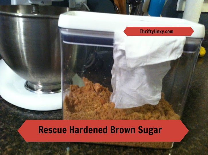 brown sugar in airtight container with paper towel
