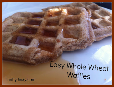 You can whip up a batch of these easy waffles in the morning, or double or triple the recipe and freeze the extras. Later you can just pop them in the toaster for a quick breakfast. #waffles #breakfast #wholewheat