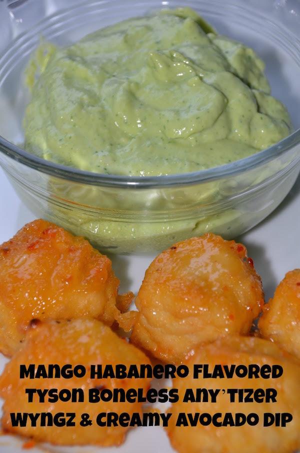 Mango Habanero Flavored Tyson Boneless Any'tizer Wyngz Creamy Avocado Dip