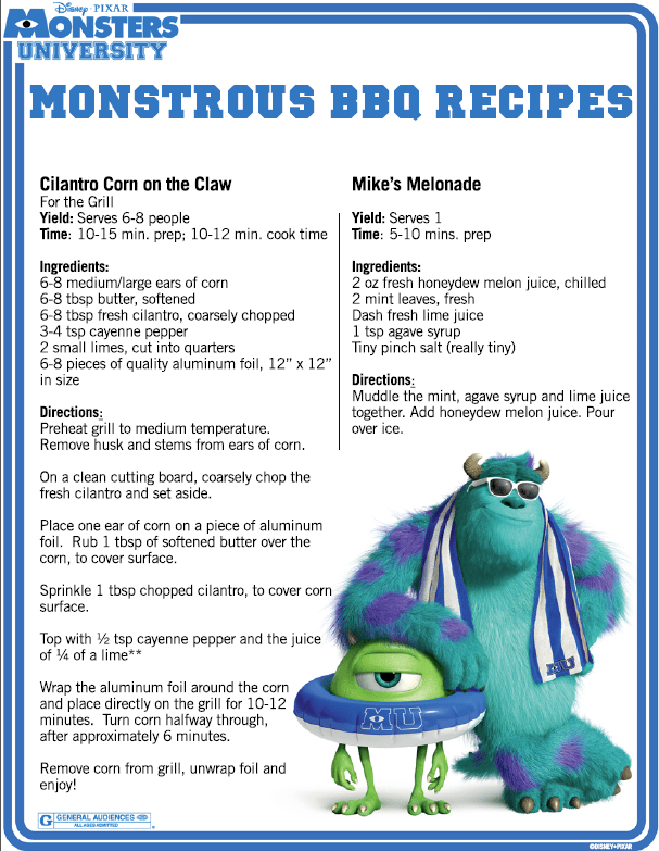 Monsters University BBQ Recipes