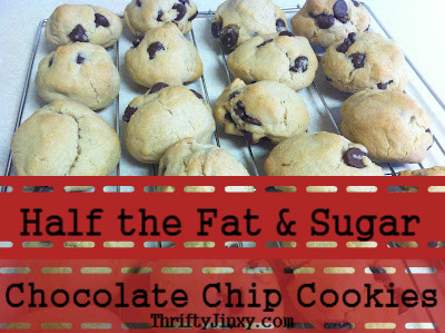 half fat sugar chocolate chip cookies